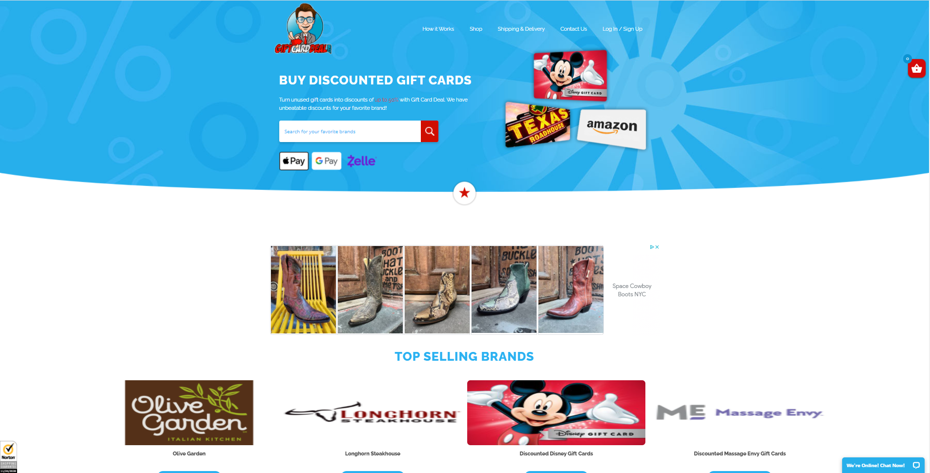 gift card deal website development portfolio