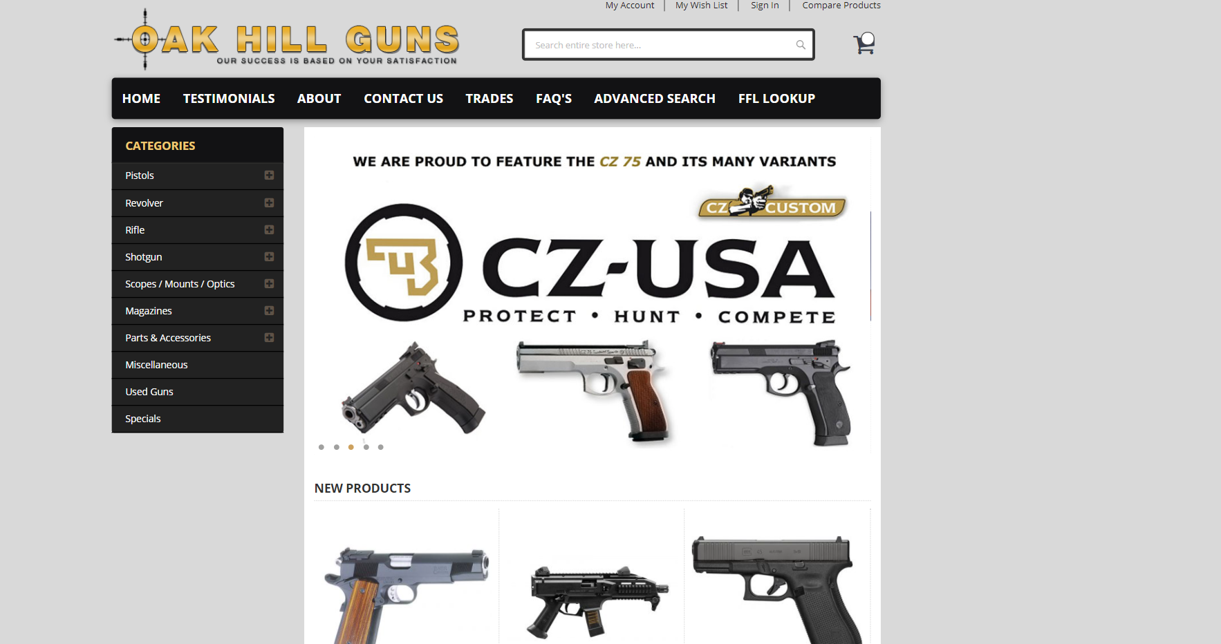 ak hill guns protfolio website